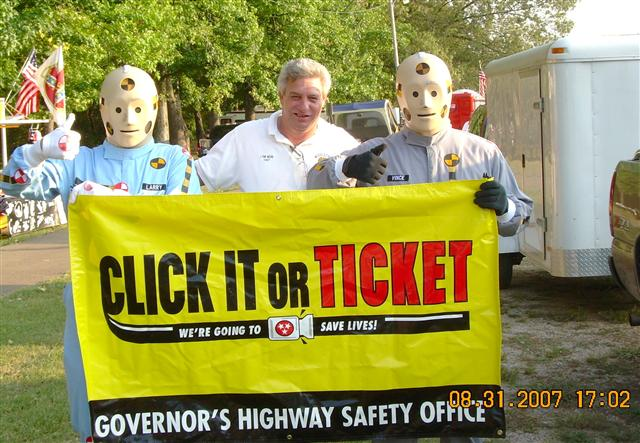 Chief Webb joins Vince and Larry at the Fur, Fin and Feather Festival to promote Seatbelt Safety